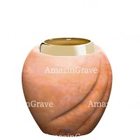 Base for grave lamp Soave 10cm - 4in In Rosa Bellissimo marble, with golden steel ferrule