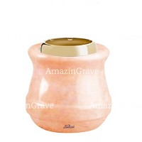 Base for grave lamp Calyx 10cm - 4in In Rosa Bellissimo marble, with golden steel ferrule