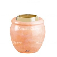 Base for grave lamp Amphòra 10cm - 4in In Rosa Bellissimo marble, with golden steel ferrule