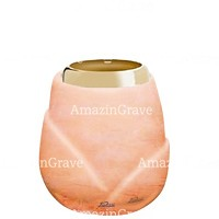Base for grave lamp Liberti 10cm - 4in In Rosa Bellissimo marble, with golden steel ferrule