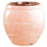 Flowers pot Amphòra 19cm - 7,5in In Rosa Bellissimo marble, copper inner