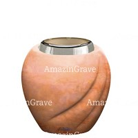Base for grave lamp Soave 10cm - 4in In Rosa Bellissimo marble, with steel ferrule