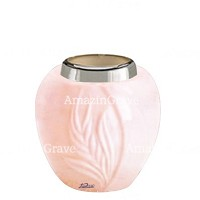 Base for grave lamp Spiga 10cm - 4in In Rosa Bellissimo marble, with steel ferrule