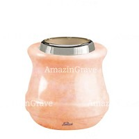Base for grave lamp Calyx 10cm - 4in In Rosa Bellissimo marble, with steel ferrule