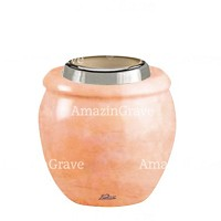 Base for grave lamp Amphòra 10cm - 4in In Rosa Bellissimo marble, with steel ferrule