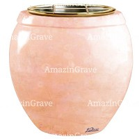 Flowers pot Amphòra 19cm - 7,5in In Rosa Bellissimo marble, golden steel inner