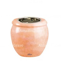 Base for grave lamp Amphòra 10cm - 4in In Rosa Bellissimo marble, with recessed nickel plated ferrule