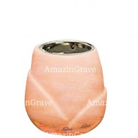 Base for grave lamp Liberti 10cm - 4in In Rosa Bellissimo marble, with recessed nickel plated ferrule