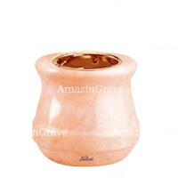 Base for grave lamp Calyx 10cm - 4in In Rosa Bellissimo marble, with recessed copper ferrule