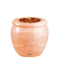 Base for grave lamp Amphòra 10cm - 4in In Rosa Bellissimo marble, with recessed copper ferrule