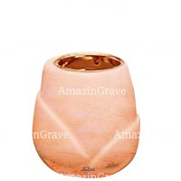 Base for grave lamp Liberti 10cm - 4in In Rosa Bellissimo marble, with recessed copper ferrule