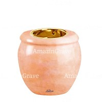 Base for grave lamp Amphòra 10cm - 4in In Rosa Bellissimo marble, with recessed golden ferrule