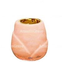 Base for grave lamp Liberti 10cm - 4in In Rosa Bellissimo marble, with recessed golden ferrule