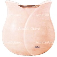 Flowers pot Tulipano 19cm - 7,5in In Rosa Bellissimo marble, copper inner