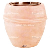 Flowers pot Chordè 19cm - 7,5in In Rosa Bellissimo marble, copper inner