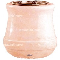 Flowers pot Calyx 19cm - 7,5in In Rosa Bellissimo marble, copper inner