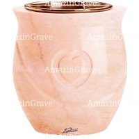 Flowers pot Cuore 19cm - 7,5in In Rosa Bellissimo marble, copper inner