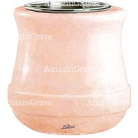 Flowers pot Calyx 19cm - 7,5in In Rosa Bellissimo marble, steel inner