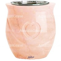 Flowers pot Cuore 19cm - 7,5in In Rosa Bellissimo marble, steel inner