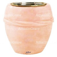 Flowers pot Chordè 19cm - 7,5in In Rosa Bellissimo marble, golden steel inner