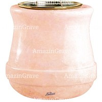 Flowers pot Calyx 19cm - 7,5in In Rosa Bellissimo marble, golden steel inner