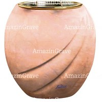 Flowers pot Soave 19cm - 7,5in In Rosa Bellissimo marble, golden steel inner