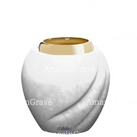Base for grave lamp Soave 10cm - 4in In Pure white marble, with golden steel ferrule