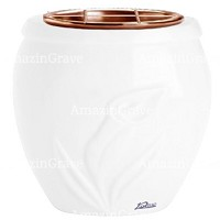 Flowers pot Calla 19cm - 7,5in In Pure white marble, copper inner