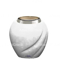 Base for grave lamp Soave 10cm - 4in In Pure white marble, with steel ferrule