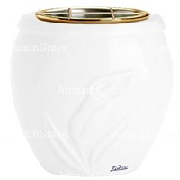 Flowers pot Calla 19cm - 7,5in In Pure white marble, golden steel inner