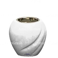 Base for grave lamp Soave 10cm - 4in In Pure white marble, with recessed nickel plated ferrule