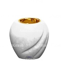 Base for grave lamp Soave 10cm - 4in In Pure white marble, with recessed golden ferrule
