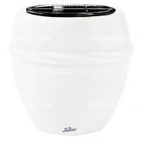 Flowers pot Chordè 19cm - 7,5in In Pure white marble, plastic inner