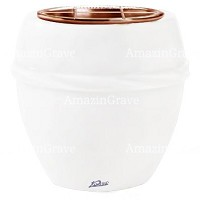 Flowers pot Chordè 19cm - 7,5in In Pure white marble, copper inner