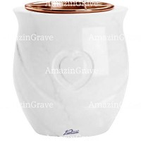 Flowers pot Cuore 19cm - 7,5in In Pure white marble, copper inner