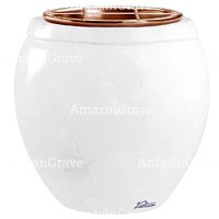 Flowers pot Amphòra 19cm - 7,5in In Pure white marble, copper inner