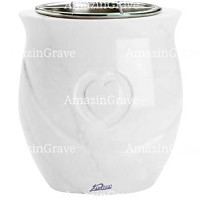 Flowers pot Cuore 19cm - 7,5in In Pure white marble, steel inner