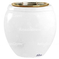 Flowers pot Amphòra 19cm - 7,5in In Pure white marble, golden steel inner