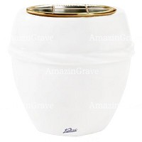 Flowers pot Chordè 19cm - 7,5in In Pure white marble, golden steel inner