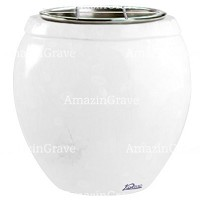Flowers pot Amphòra 19cm - 7,5in In Pure white marble, steel inner