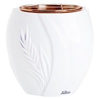 Flowers pot Spiga 19cm - 7,5in In Pure white marble, copper inner