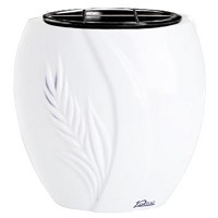 Flowers pot Spiga 19cm - 7,5in In Pure white marble, plastic inner