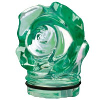 Green crystal small rose 7,5cm - 3in Decorative flameshade for lamps
