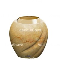 Base for grave lamp Soave 10cm - 4in In Botticino marble, with golden steel ferrule