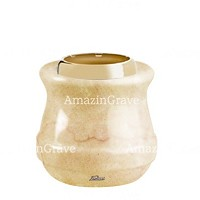 Base for grave lamp Calyx 10cm - 4in In Botticino marble, with golden steel ferrule