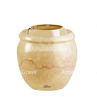 Base for grave lamp Amphòra 10cm - 4in In Botticino marble, with golden steel ferrule