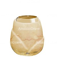 Base for grave lamp Liberti 10cm - 4in In Botticino marble, with golden steel ferrule
