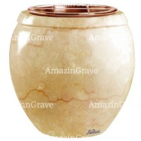 Flowers pot Amphòra 19cm - 7,5in In Botticino marble, copper inner
