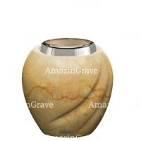 Base for grave lamp Soave 10cm - 4in In Botticino marble, with steel ferrule