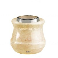 Base for grave lamp Calyx 10cm - 4in In Botticino marble, with steel ferrule